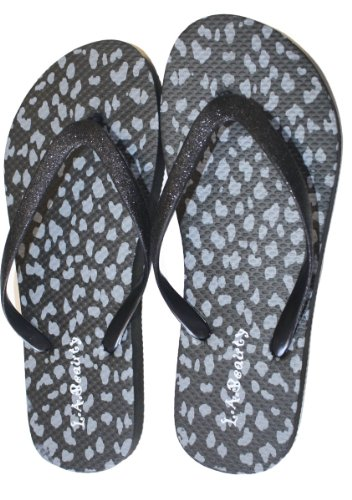Womens Flip Flop With Cheetah print And Decorated Straps Black ()