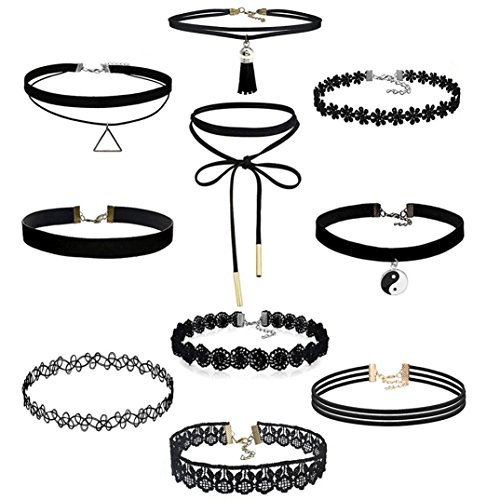Gotd 10 Pieces Choker Necklace Set Stretch Velvet Classic Gothic Tattoo Lace Choker Necklaces, Black (Pack of 10)