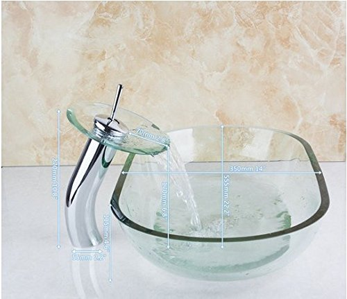 GOWE Oval Bathroom Clear Art Washbasin Tempered Glass Vessel Sink With Waterfall Chrome Faucet Set 0