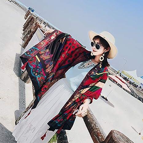 Bufandas Wraps Chal Toalla de Playa Femenina Verano y Verano Viento Nacional portátil Ultrafino Playa Hembra Doble Uso pequeño Chal rectángulo Primavera y ...