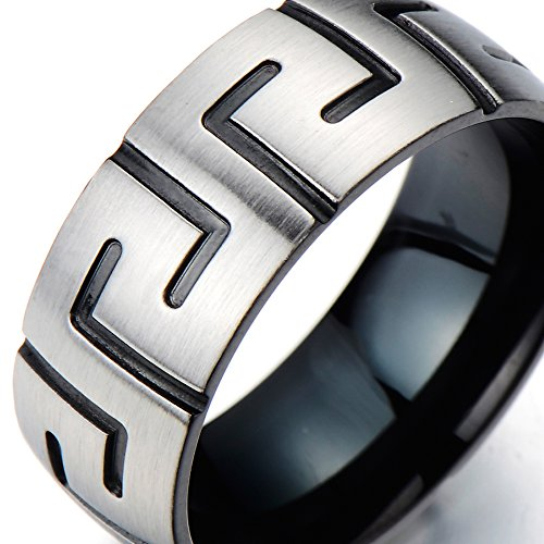 Stainless Steel Man's Ring with Greek Key Pattern Silver and Black Two-tone Satin Finishing (12a)