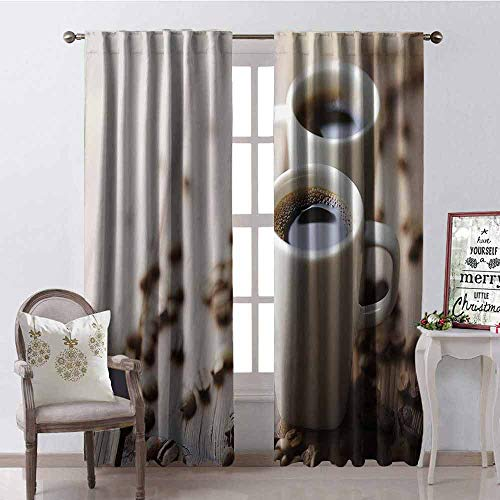 GloriaJohnson Coffee Blackout Curtain Espresso in Cups on Wooden Table with Beans Hot Drink for Romantic Couples 2 Panel Sets W52 x L72 Inch Cocoa Brown White