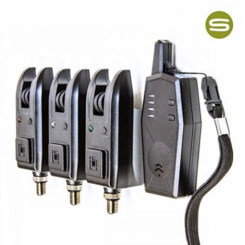 Saber Z3 Wireless Bite Alarm Set 3 Alarms and Receiver + Case Carp Fishing Set