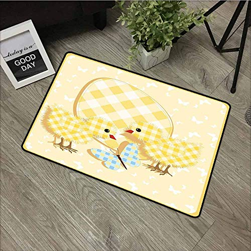LOVEEO Welcome Doormat,Baby Abstract Chick Design with Plaid Pattern Butterfly Giant Egg Funny,Anti-Slip Doormat Footpad Machine Washable,16