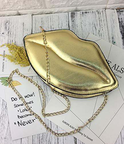 Cadena Flap Messenger La Señoras Labios Mini Bag Embrague Las Pu Manera Atractiva Crossbody Pnizun Día De oro Los Mujeres Hombro Del Bolso Monedero tH0qFHx1w