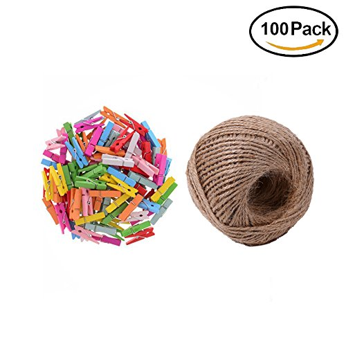 Clothesline Shower Baby (iMagitek 100 Pieces Mini Colored Natural Wooden Clothespins with Spring Photo Paper Peg Pin Craft Clips with 100 Feet Jute Twine)