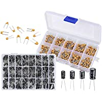 Monland 2 in 1 600PCS Ceramic Capacitor Assortment Kit with 500PCS Electrolytic Capacitor