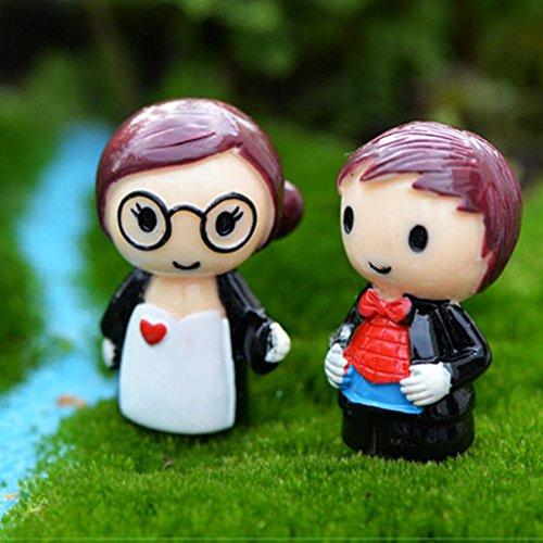 1paar liebhaber miniatur  figur bonsai puppenhaus dollhaus garten ...