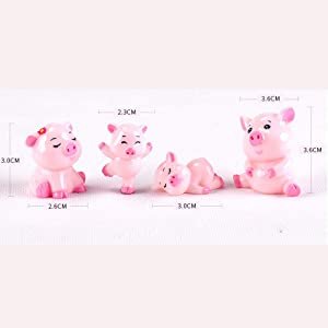 DAWEIF 4pcs Cute Pig Family Animal Model Figurine Miniature Fairy Garden Decoration Accessories Statue Resin Craft Figure