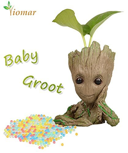 Baby Groot Flowerpot with Water Beads, The Guardians of Galaxy Flower Pots Cute Baby Action Figures Model Toy Pen Pencil Holder PVC Planter - Pc Wood Guardian