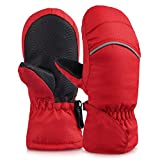 Vbiger Kids Ski Gloves Winter Warm Mittens (Red, L)