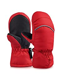Vbiger Kids Winter Warm Ski Gloves Waterproof Full Finger Mittens