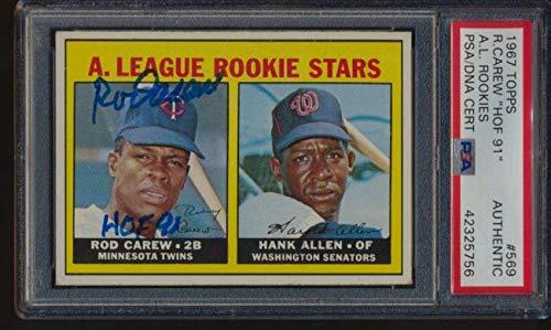 (1967 Topps #569 Rod Carew/Hank Allen HOF Rookie Stars Autographed HOF 49746 - PSA/DNA Certified - Baseball Slabbed Autographed Cards)