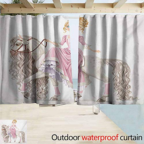 (AndyTours Blackout Curtain,Teen Girls Pretty Smiling Princess on A White Horse with A Long Mane Happiness Theme Print,Draft Blocking Draperies,W72x72L Inches,Cream Pink)