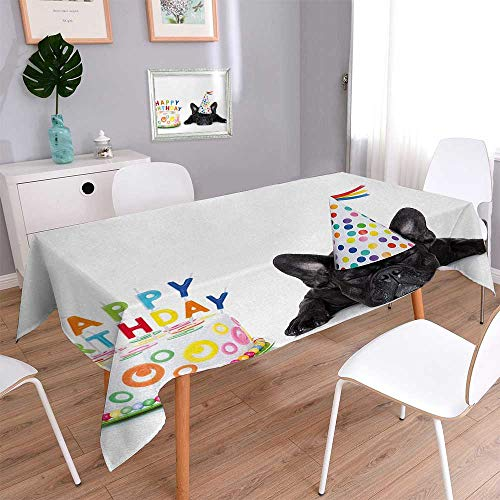 RuppertTextile Kids Birthday Stain Resistant Wrinkle Tablecloth Sleepy French Bulldog Party Cake with Candles Cone Hat Celebration Image Customized Tablecloth 54