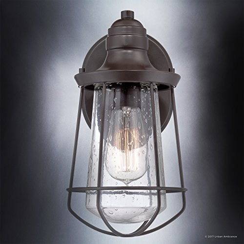 Luxury Vintage Outdoor Wall Light, Small Size: 11.25''H x 6.25''W, with Nautical Style Elements, Cage Design, Estate Bronze Finish and Seeded Glass, Includes Edison Bulb, UQL1120 by Urban Ambiance by Urban Ambiance (Image #4)