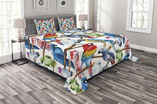 Lunarable Parrots Coverlet Set King Size, Colorful Parrots on Tree Branches Exotic Jungle Theme Watercolor Painting Effect, Decorative Quilted 3 Piece Bedspread Set with 2 Pillow Shams, Multicolor