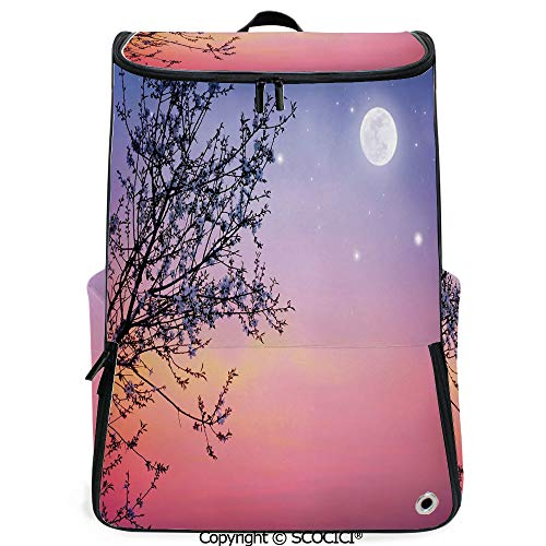 SCOCICI Laptop Backpack,Dreamlike Ethereal Sky with Moon Stars and Blooming Spring Tree Branches Decorative,Blue Light Pink Black,Customizable Multicolor for Men & Women Sport Daypack