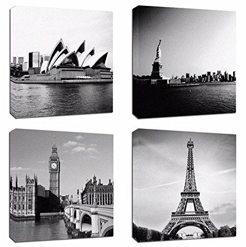 Liberty Tower - 4Pcs 12x12 Canvas Wood Stretched Building Eiffel Tower London Big Ben Sydney Opera House Statue of Liberty Theme Frame Landscape Modern Art For Home Room Office Wall Print Decor 12x12