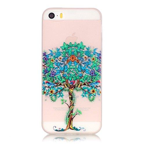 iPhone 5 5S SE Hülle mit Fluoreszenz , Modisch Grüner Baum Transparent TPU Silikon Schutz Handy Hülle Handytasche HandyHülle Etui Schale Schutzhülle Case Cover für Apple iPhone 5 5S SE