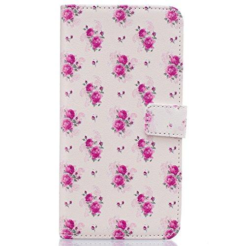 Samsung S6 Edge Plus Funda Alfort Carcasa Samsung Galaxy S6 Edge Plus Case de Piel Pintada Cover La tapa de la Cubierta del Cuero Moda Case con Soporte Plegable y Ranura de Tarjeta para Samsung Galaxy Rose