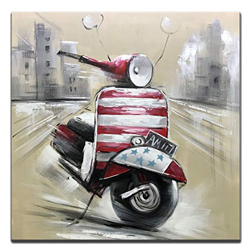 (Boiee Art,32x32Inch Red Motorcycle Hand-Painted on Canvas Street Scene Car Oil Painting Contemporary Artwork Modern Home Decor Wall Art Wood Inside Framed Ready to Hang for Living Room)