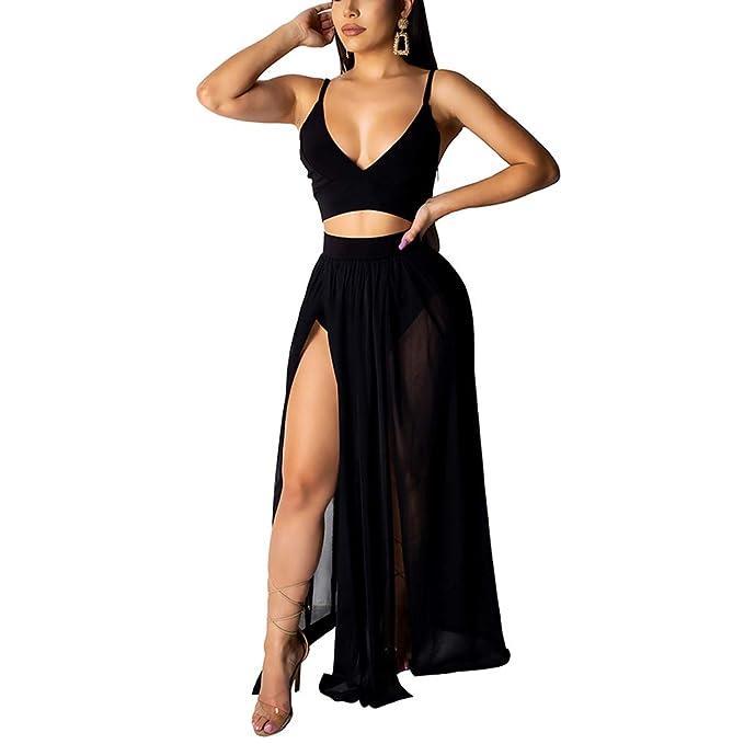 2fc7ecdb909 AMAZLA Women s 2 Piece Outfits Sexy Sling Sleeveless Slit Dress