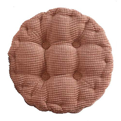 """Round EPE Filled Chair Pad Cushion - Natural for Home Office Dinning Chair Solid Color Indoor Outdoor Seat Chair Pad (18"""", Coffee)"""