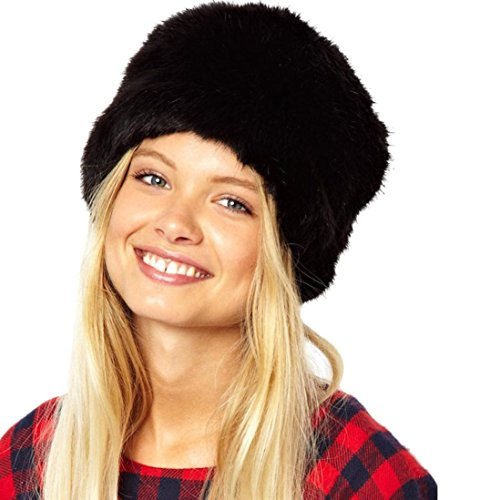 Highpot Women Faux Fur Cossack Russian Hat Winter Warm Hats Cap (Black)