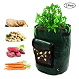 TianMai Potato Grow Bag 2 Pack 7 Gallon Garden Vegetables PE Planting Container Bag with Flap and Handles Heavy Duty Suitable Patio Recycled Home Garden Supplies