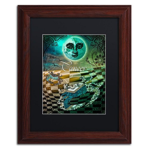 Cancer Zodiac Frame (Art Nouveau Zodiac Cancer by Color Bakery, Black Matte, Wood Frame 11x14-Inch)