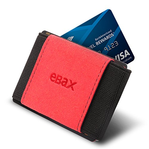 Ebax Minimalist Slim Wallet For Men Women - Elastic Front Pocket Credit Card Holder Wallet (Black Red) ()
