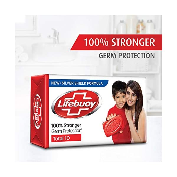 Lifebuoy Total10 Germ Protection Bathing Soap, Protects From Viruses & Other Harmful Germs Using Activ Silver Shield… 2021 June Lifebuoy is the World's Number 1 Selling Germ Protection Soap Lifebuoy Silver Shield Formula - the powerful germ protection formula to fight against stronger germs Lifebuoy Total 10 Soap gives you 100% stronger germ protection (As per lab test on indicator organism vs soap bar without actives)