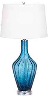 Possini Euro Elin Blue Fluted Art Glass Table Lamp