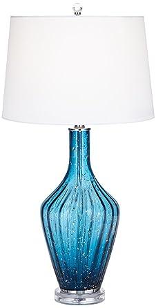 Possini Euro Elin Blue Fluted Art Glass Table Lamp Amazon Com