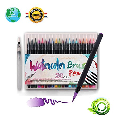 Watercolor Brush Markers,Watercolor pens Ink is Sufficient Watercolor Brush Markers The Colors are Very Ink Flows Very Smoothly The Brush Pen is Very Vivid (Pens)
