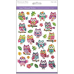 """Multicraft Imports Laser Embossed Owls Stickers Sheet, 5.5"""" by 8.25"""""""