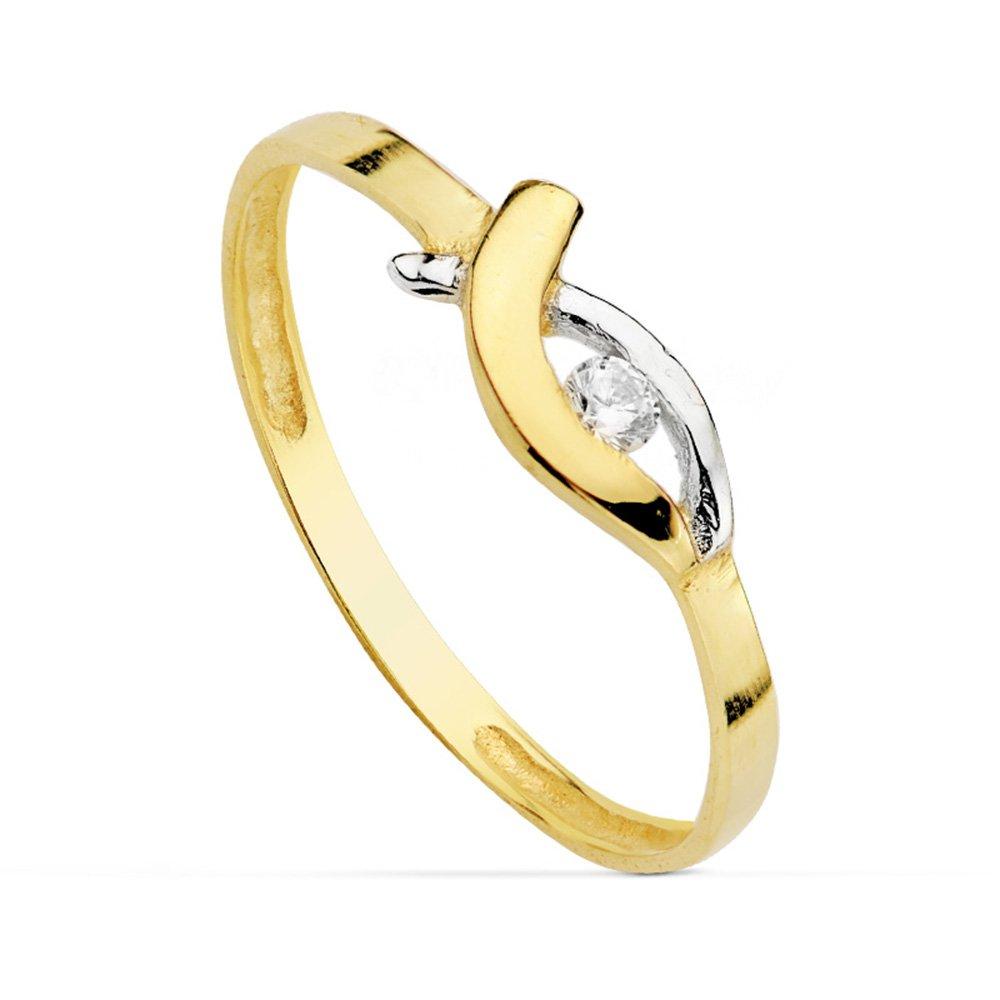 Sortija oro bicolor Dory 18 Ktes - 1ª Comunión niña Alda Joyeros 2587
