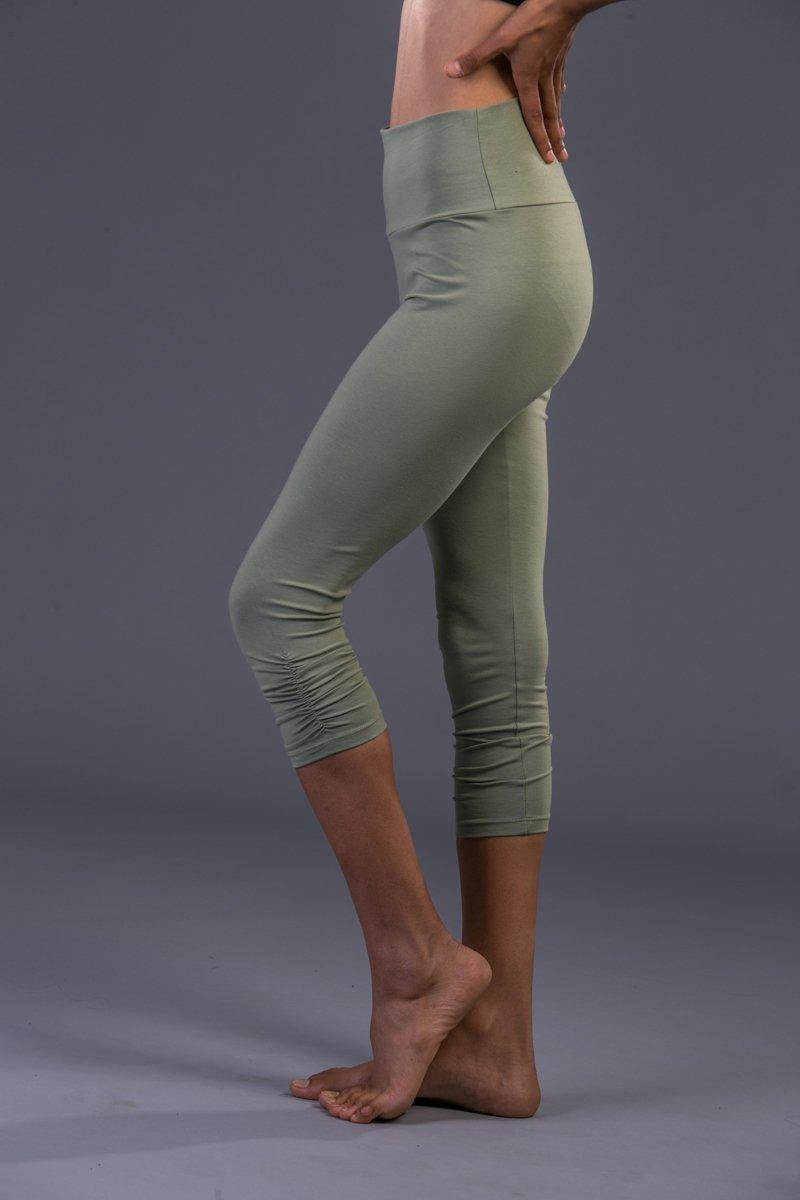 Handmade Women's Light Green Cotton Lycra Capri Tights Gym Pants, Crop Yoga Leggings Bohemian Workout Clothing