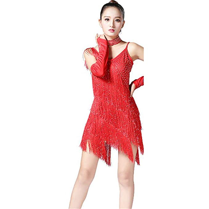Amazon.com: FeliciaJuan Latin Rumba Dance Dress Women ...