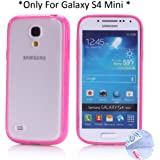 Arbalest® Galaxy S4 Mini Case, [Hybrid Bumper] TPU Hybrid Sleek Anti-Slip Protection Transparent Matte Back with Solid Border Case for S4 Mini GT-I9190/9192/9195 - Turquoise, Gifts 1XScreen Protector