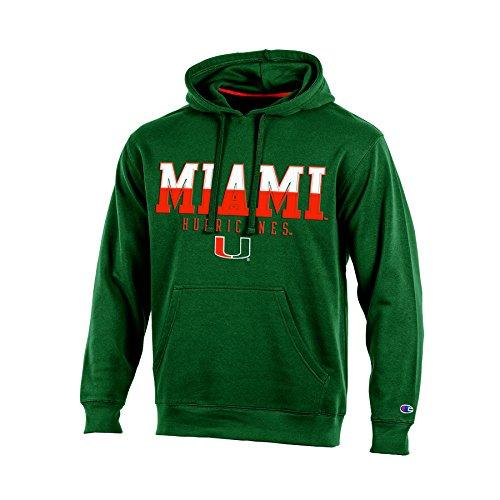 NCAA Miami Hurricanes Adult Men Pullover Hooded Fleece, Medium, Green