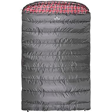 TETON Sports Mammoth +20F Queen Size Sleeping Bag Perfect for Base Camp while Camping, Backpacking, and Hiking; Grey