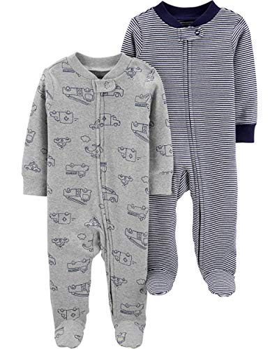 Carter's Baby Boys Footed Sleeper Cotton Sleep and Play Pajama with Zipper, Set of 2 (3 Months, Grey and Navy Stripe)