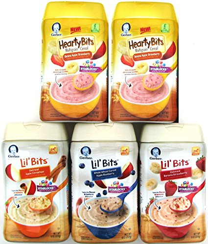 Gerber Baby Cereal Lil' Bits & Hearty Bits Ultimate Variety Pack, Silicone Baby Bib, Spoon and Bowl. Bundle of 5 Cereals by Narrow Path Sales (Image #2)