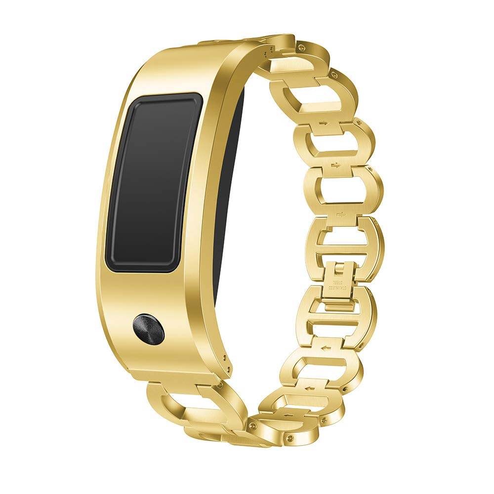 Sonmer Stainless Steel Watch Band Replacement Strap (Gold, Garmin Vivofit 2)