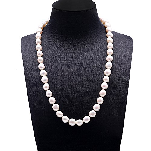 - JYX 9-10mm Natural White Baroque Freshwater Pearl Necklace Single Strand 20
