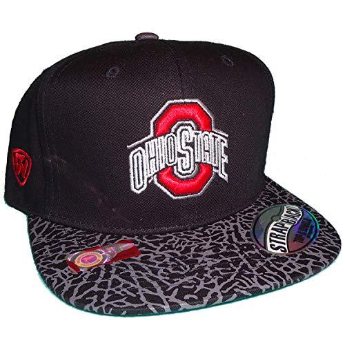 Top of the World Ohio State Buckeyes Wordmark O Logo Elephant Visor Flat Bill Strapback Cap Hat