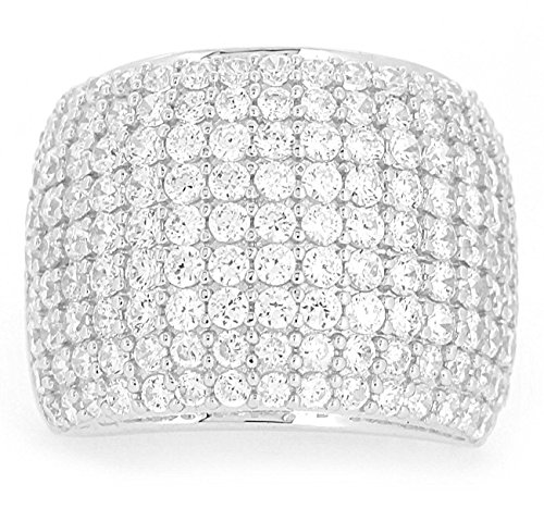 BL Jewelry Sterling Silver Paved CZ Dome Ring (10)