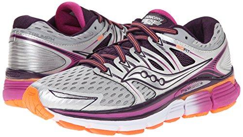 Pictures of Saucony Women's Triumph ISO Running Shoe Silver/Purple/Orange 4